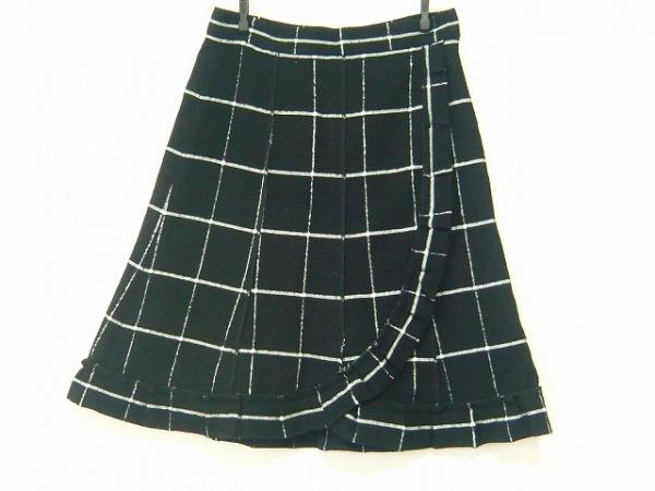 ソニアリキエル スカート サイズ40 M レディース 黒×アイボリー チェック柄