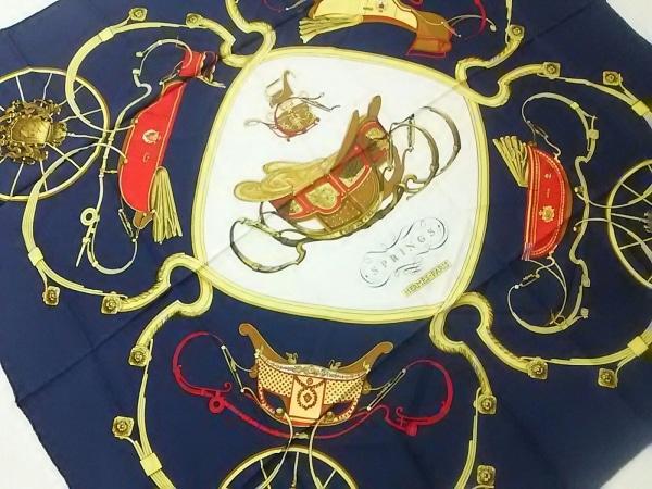 HERMES(エルメス) スカーフ美品  カレ ダークネイビー×アイボリー×マルチ SPRINGS