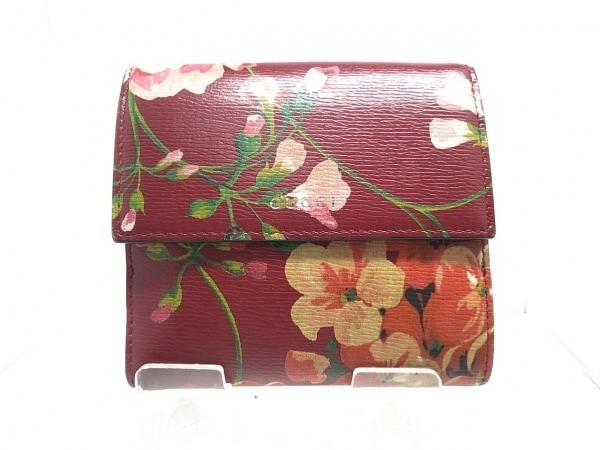 GUCCI(グッチ) Wホック財布 フローラ 410104 ボルドー×グリーン×マルチ 花柄 レザー