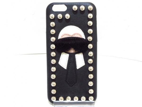 フェンディ 携帯電話ケース カーリト - 黒×白×ベージュ iPhoneケース/スタッズ
