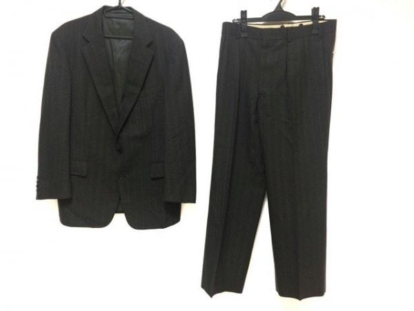 J.PRESS(ジェイプレス) シングルスーツ メンズ グレー×ボルドー ストライプ