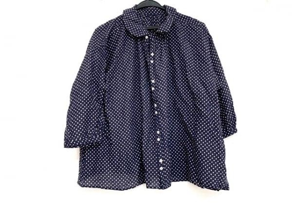 nest Robe(ネストローブ) 七分袖シャツブラウス レディース美品  ネイビー×ベージュ