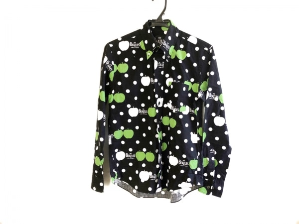 コムデギャルソン 長袖シャツブラウス サイズS メンズ美品  黒×白×グリーン