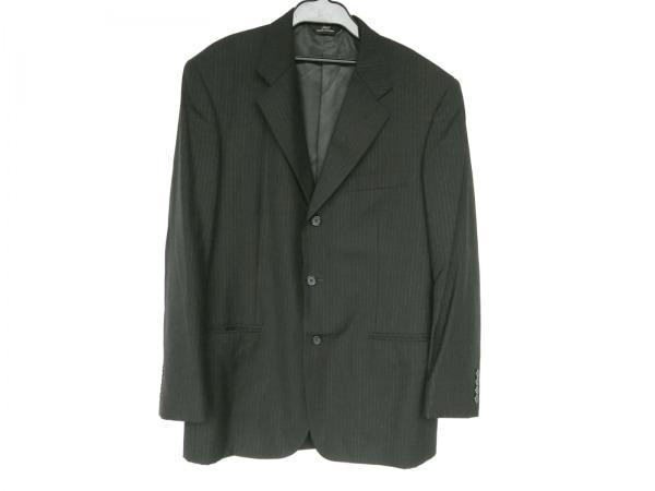 ブルックスブラザーズ ジャケット メンズ 黒×グレー 肩パッド/ストライプ