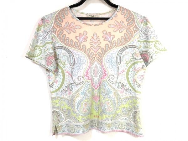 ETRO(エトロ) 半袖Tシャツ レディース ライトブルー×ピンク×マルチ