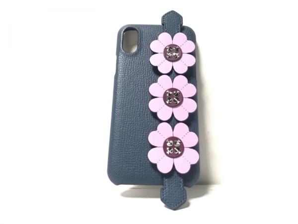 ケイトスペード 携帯電話ケース美品  8ARU6319 ネイビー×ピンク×シルバー レザー