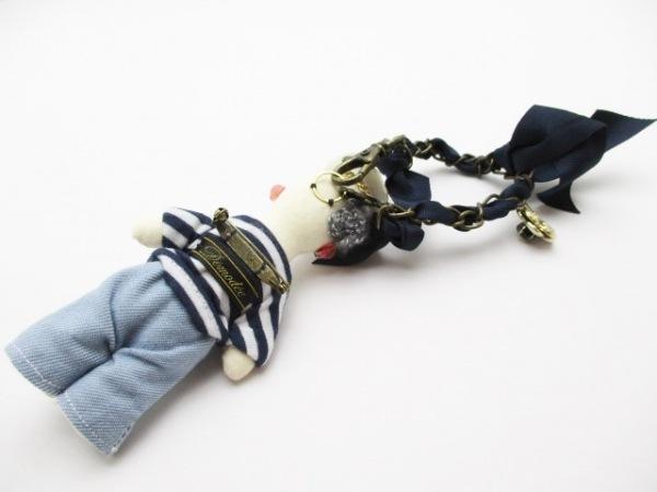 デモデ キーホルダー(チャーム) - - アイボリー×ライトブルー×ブルー コットン