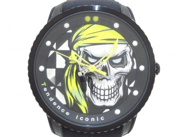 テンデンス 腕時計美品  アイコニック TGX30002 メンズ 黒×イエロー×マルチ