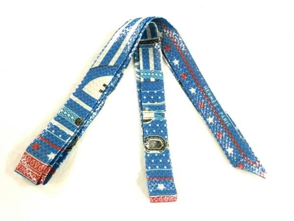 HERMES(エルメス) スカーフ美品  ツイロン H053147S 26 ブルー×白×マルチ