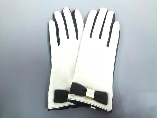 Kate spade(ケイトスペード) 手袋 M レディース 黒×白 リボン レザー