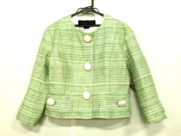 LOUIS VUITTON(ルイヴィトン) ジャケット サイズ40 M レディース グリーン×白 ラメ
