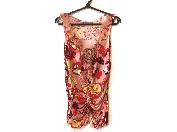 ウンガロフューシャ タンクトップ レディース美品  ピンク×マルチ 花柄/フリル