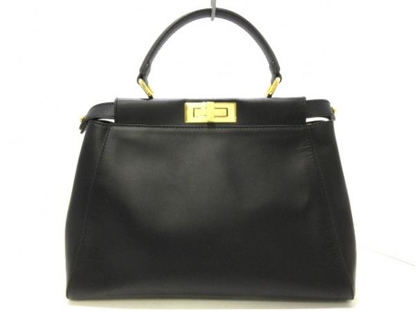 FENDI(フェンディ) ハンドバッグ美品  ピーカブー 8BN226 黒 内側ペカン柄 レザー