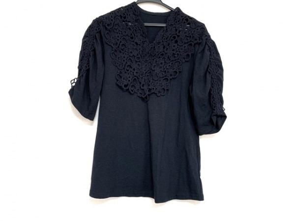 シズカコムロ 七分袖カットソー サイズ42 L レディース美品  ダークネイビー 刺繍