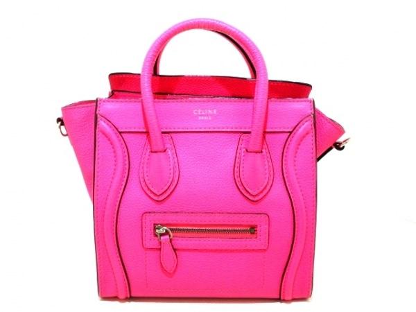 CELINE(セリーヌ) ハンドバッグ ラゲージナノショッパー ピンク レザー