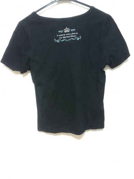 23区(ニジュウサンク) 半袖Tシャツ サイズ44 L レディース 黒×白 ラインストーン
