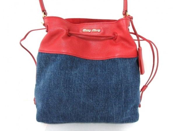 miumiu(ミュウミュウ) ハンドバッグ美品  - RN1129 ネイビー×レッド デニム×レザー