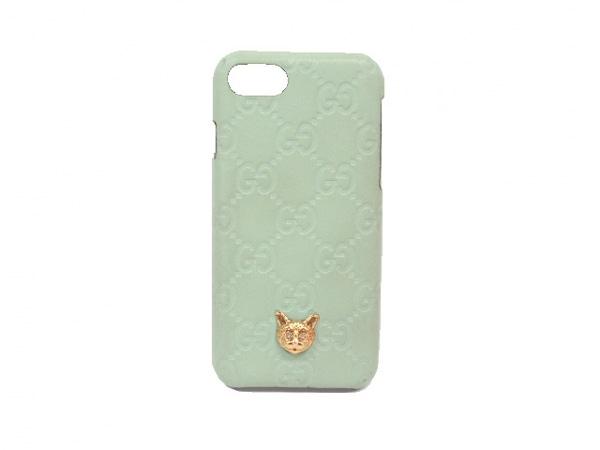 グッチ 携帯電話ケース シマライン 548067 ライトグリーン iPhoneケース/ネコ レザー