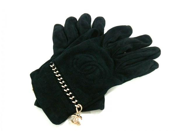 シャネル 手袋 7 1/2 レディース 黒 ココマーク/チェーン/ゴールド金具 スエード