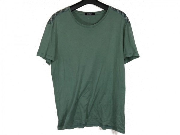 バーバリーブラックレーベル 半袖Tシャツ サイズ4 XL メンズ グリーン チェック柄