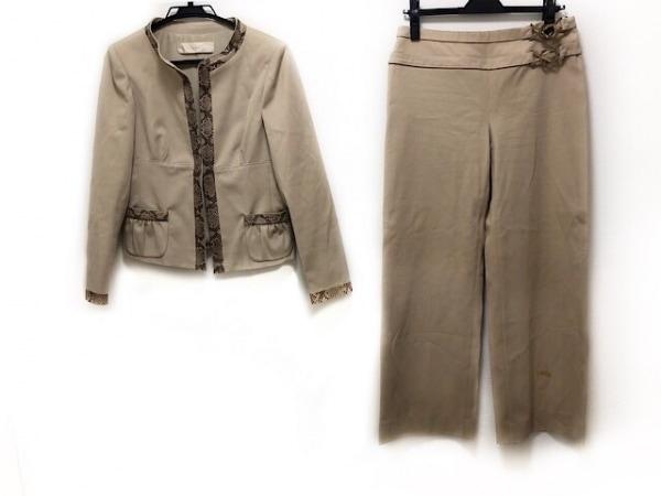 バレンチノ レディースパンツスーツ サイズ8 M レディース ベージュ×ダークブラウン