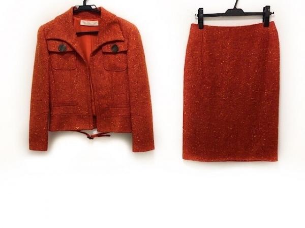 バレンチノ スカートスーツ サイズ8 M レディース オレンジ×マルチ ツイード