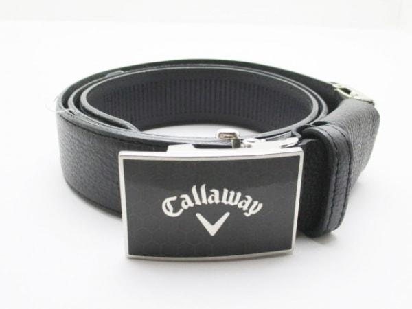 CALLAWAY(キャロウェイ) ベルト 黒×シルバー レザー×金属素材