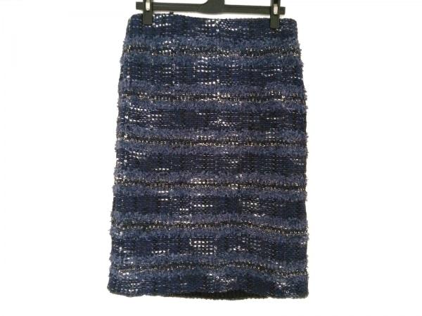 自由区/jiyuku(ジユウク) スカート サイズ38 M レディース ネイビー×白×マルチ ラメ