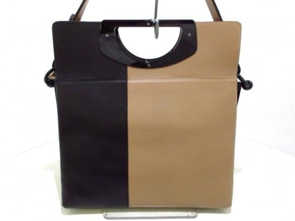 クリスチャンルブタン ハンドバッグ美品  ベージュ×黒 レザー×プラスチック