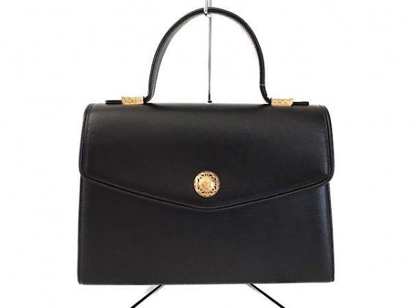 mila schon(ミラショーン) ハンドバッグ美品  黒×ゴールド レザー