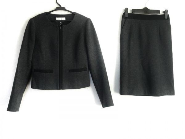 エムプルミエ スカートスーツ サイズ34 S レディース ダークグレー×黒 ジップアップ