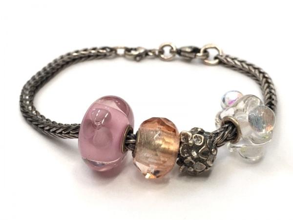 TROLLBEADS(トロールビーズ) ブレスレット シルバー×ガラス ピンク×マルチ