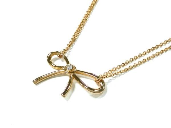 ケイトスペード ネックレス美品  金属素材 ゴールド×クリア リボン/ラインストーン