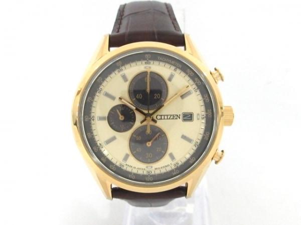 CITIZEN(シチズン) 腕時計美品  B612-S114845 メンズ ゴールド×ダークブラウン
