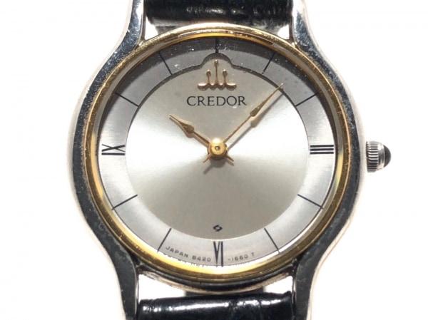 セイコークレドール 腕時計 8420-0150 レディース 社外革ベルト シルバー