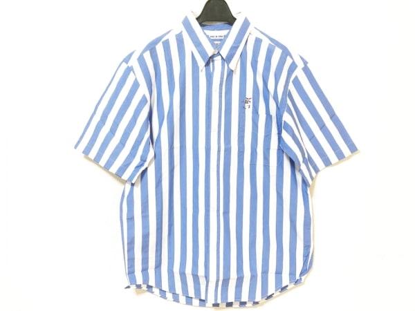 キャプテンサンタ 半袖シャツ サイズMEDIUM M メンズ 白×ブルー ストライプ