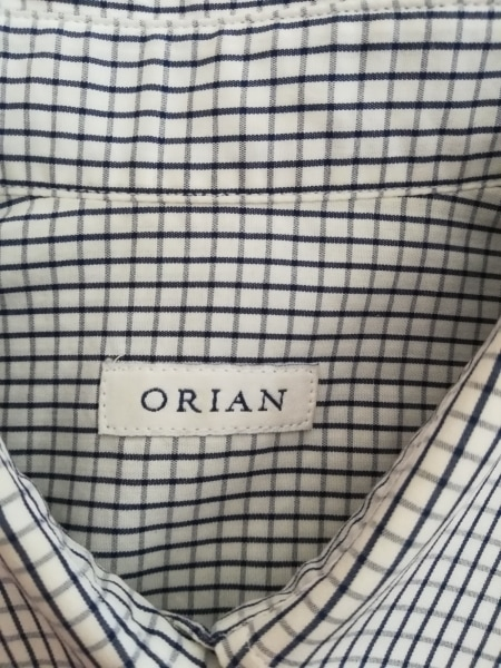 ORIAN(オリアン) 長袖シャツブラウス レディース美品  白×ネイビー チェック柄