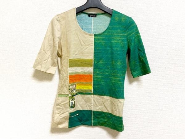 AKRIS(アクリス) 半袖Tシャツ レディース美品  ベージュ×グリーン×マルチ