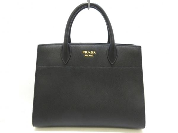 PRADA(プラダ) トートバッグ美品  ビブリオテーク 1BA049 黒×白 サフィアーノレザー