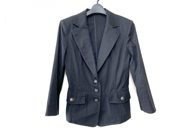 22OCTOBRE(ヴァンドゥ オクトーブル) ジャケット サイズ38 M レディース 黒 肩パッド