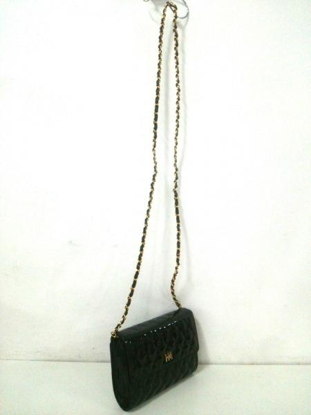 ハナエモリ ショルダーバッグ 黒×ゴールド エナメル(レザー)×金属素材