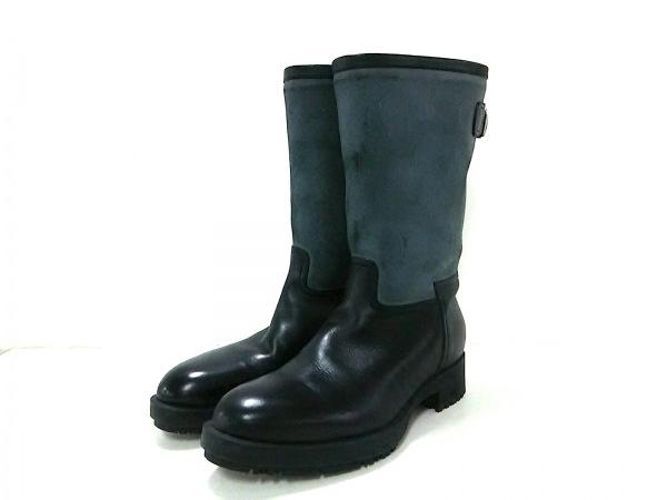 HERMES(エルメス) ブーツ 36 1/2 レディース美品  ダークグレー×黒 バックストラップ
