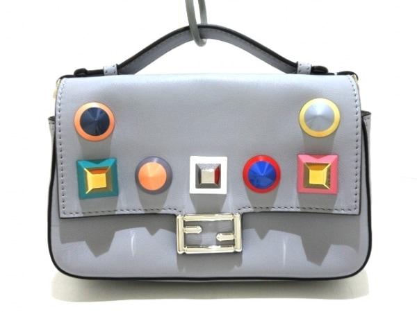 FENDI(フェンディ) ハンドバッグ美品  ダブルマイクロバゲット 8M0371 グレー×マルチ