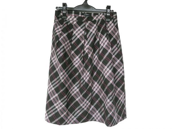 バーバリーロンドン スカート サイズ42 XL レディース新品同様  黒×グレー×ピンク