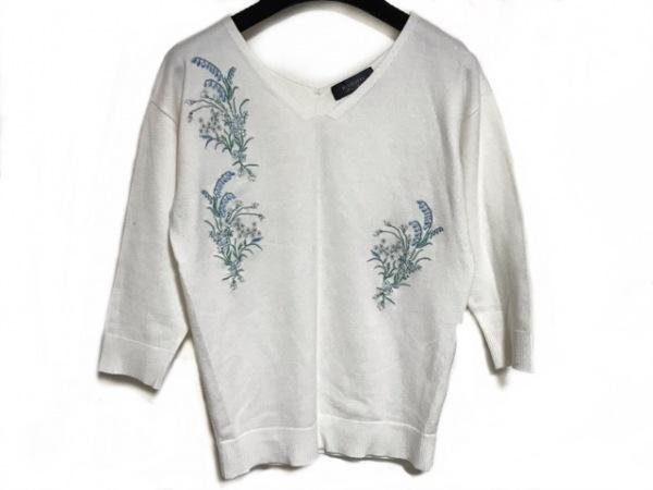 ジャスグリッティー 長袖セーター サイズ2 M レディース 白×マルチ 刺繍/フラワー