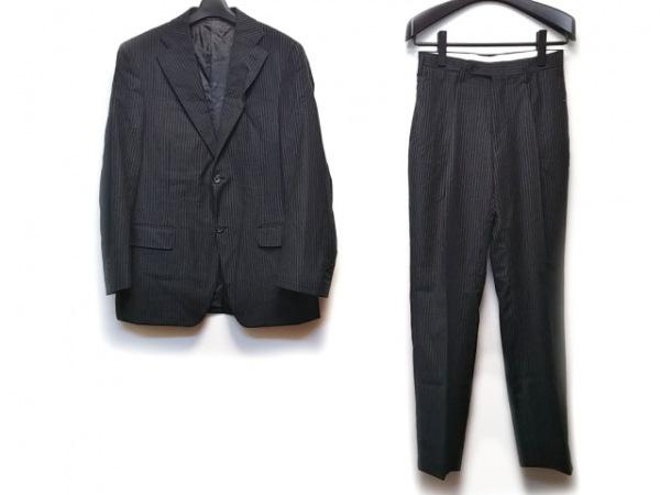CANALI(カナーリ) シングルスーツ メンズ 黒×グレー ストライプ