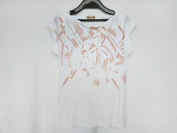 DIESEL(ディーゼル) 半袖Tシャツ サイズXS レディース 白×ライトブラウン