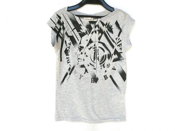 DIESEL(ディーゼル) 半袖Tシャツ サイズXS レディース グレー×黒