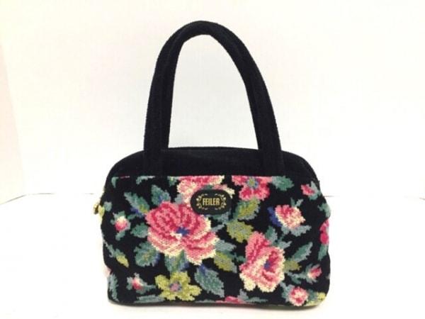 FEILER(フェイラー) ハンドバッグ 黒×マルチ ミニサイズ/花柄 パイル