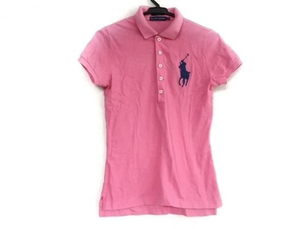 ラルフローレン 半袖ポロシャツ サイズM レディース ピンク×ネイビー 刺繍